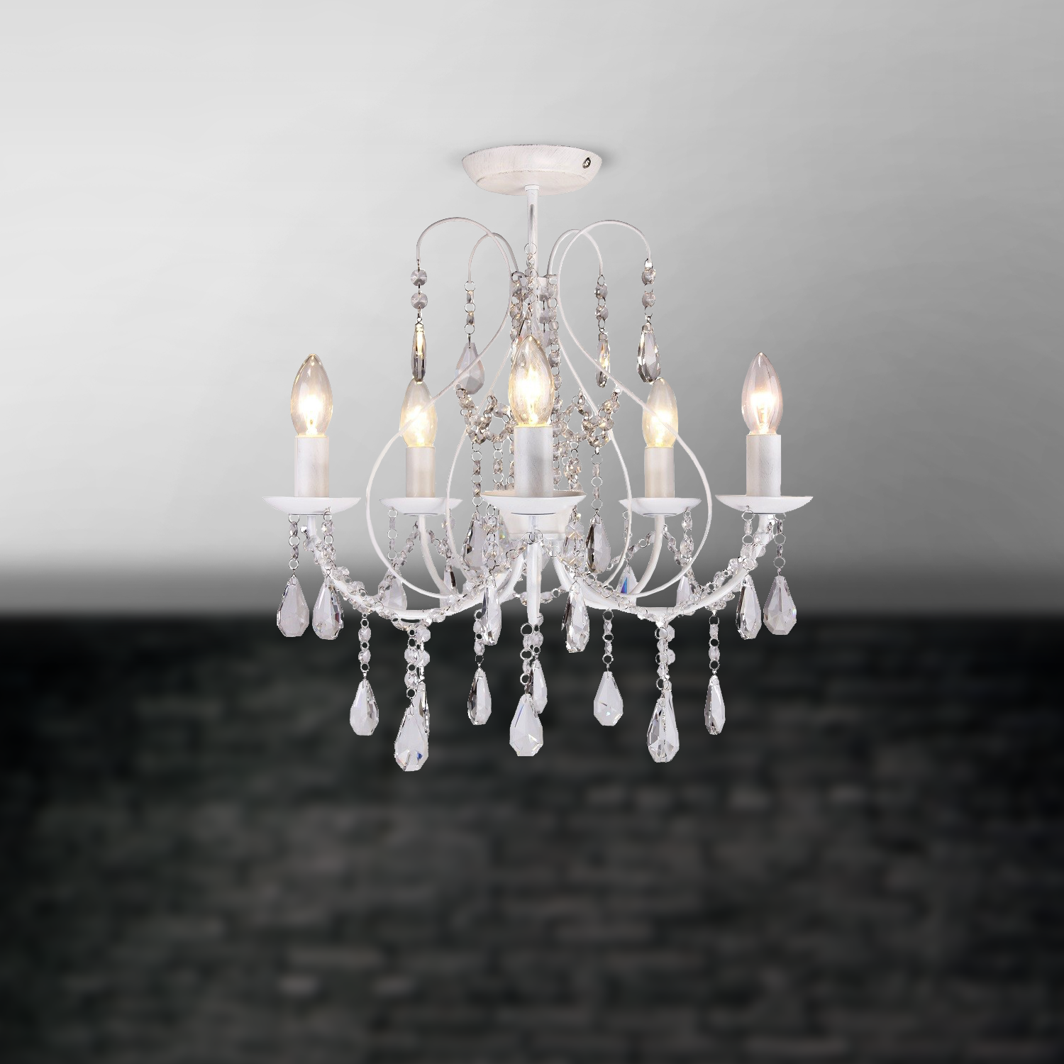 White 5 Light Chandelier