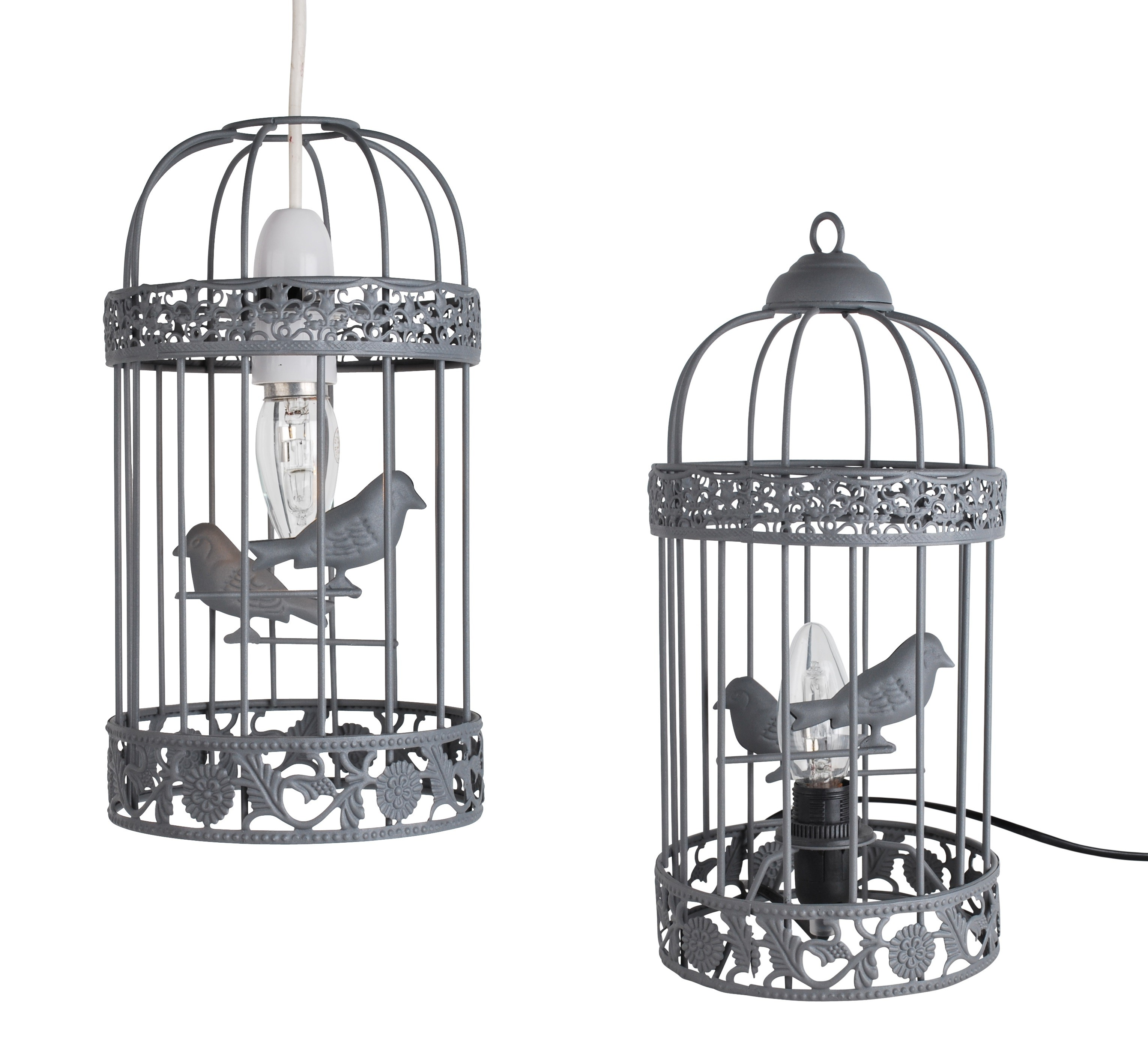 grey birdcage table with matching ceiling light shade
