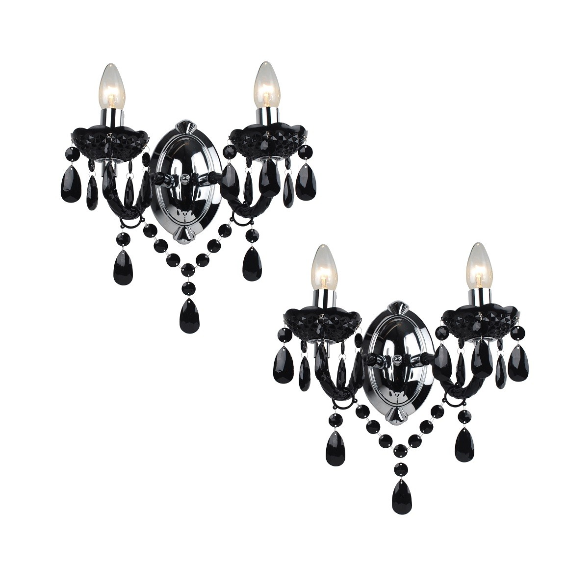 Marie Therese Wall Lights Chrome : Black & Chrome Marie Therese Style Wall Light