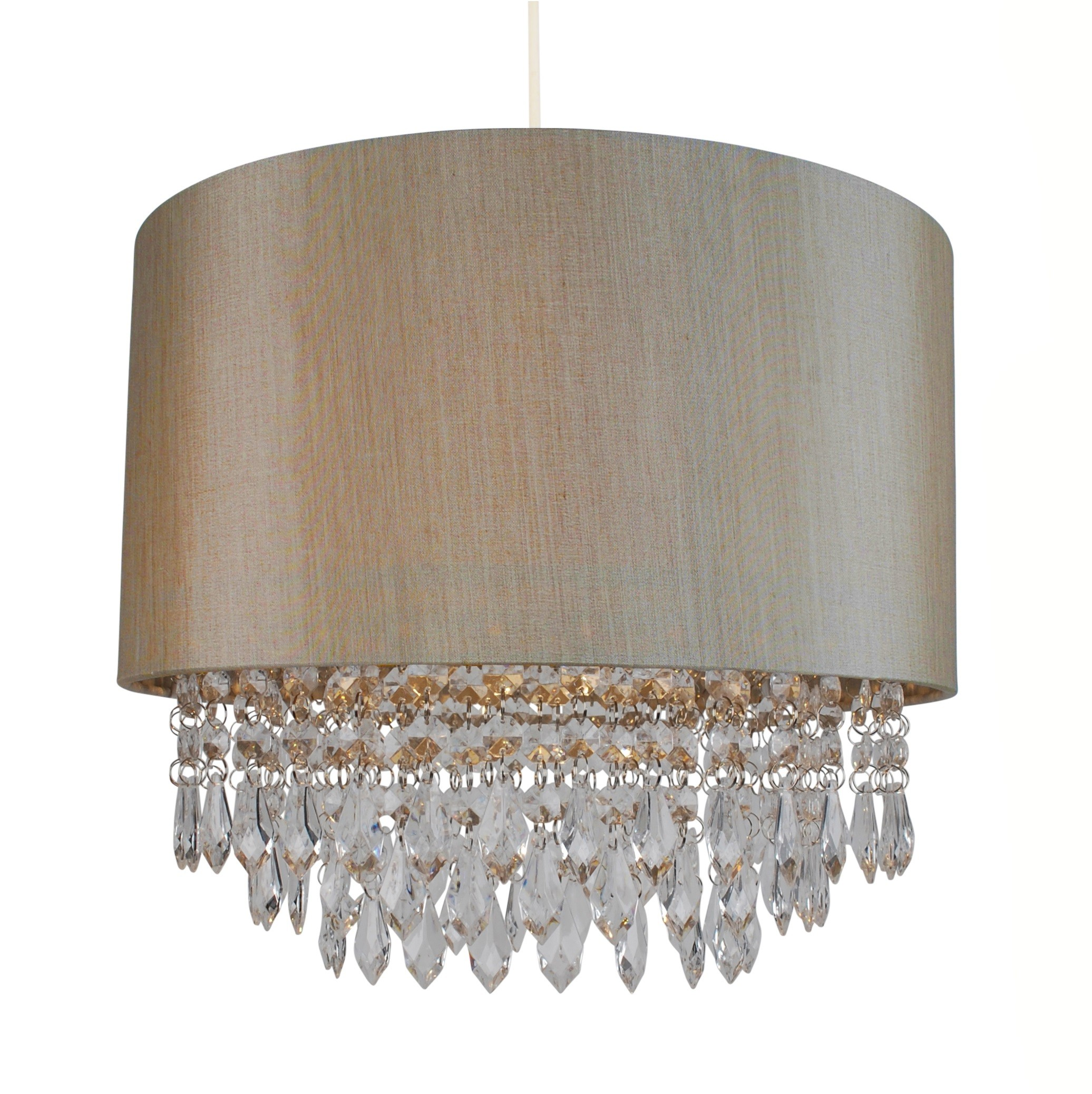 Soft Gold 350mm Easy Fit Shade With Matching Inner And Clear Droplets