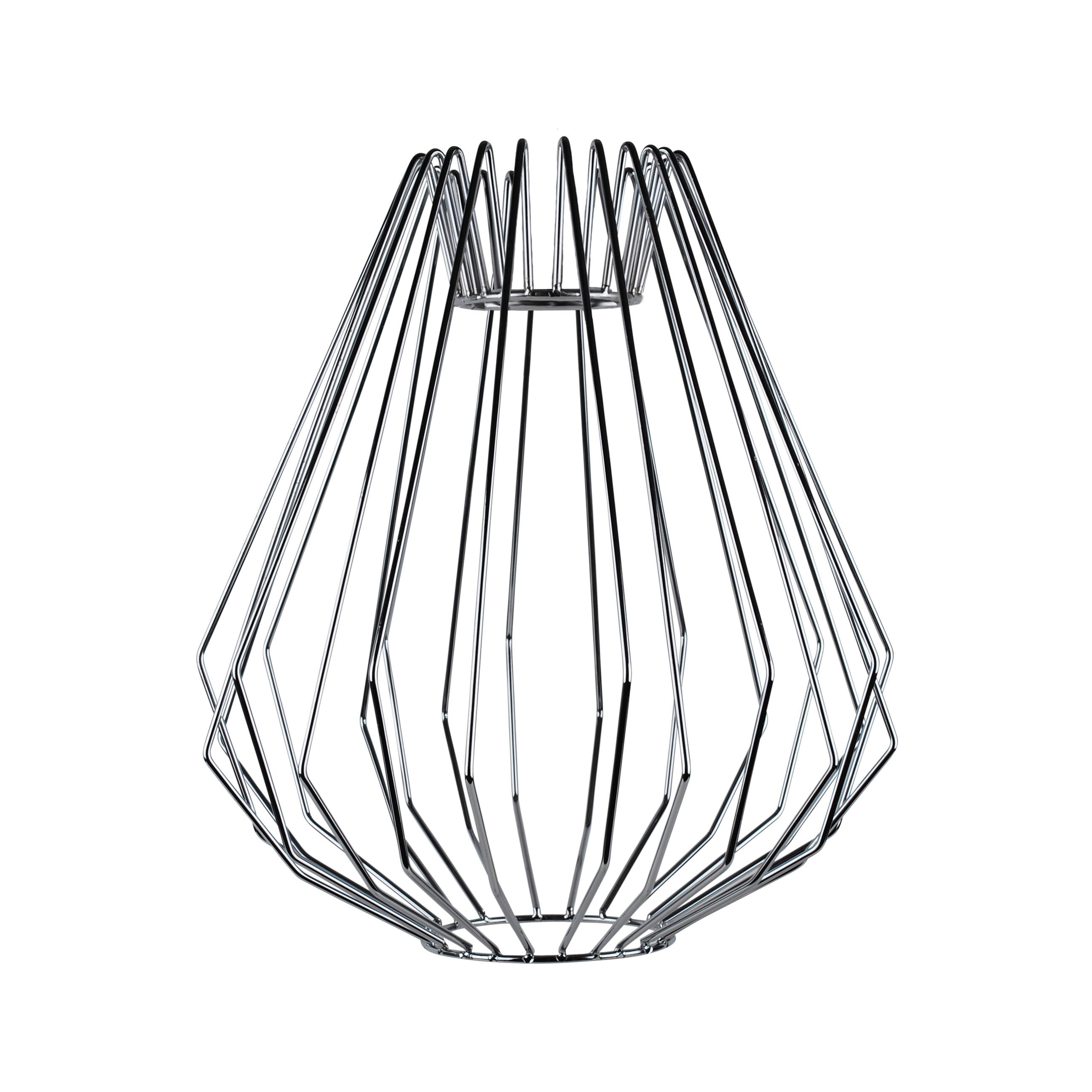 polished chrome wire 42w e27 non electrified cage pendant