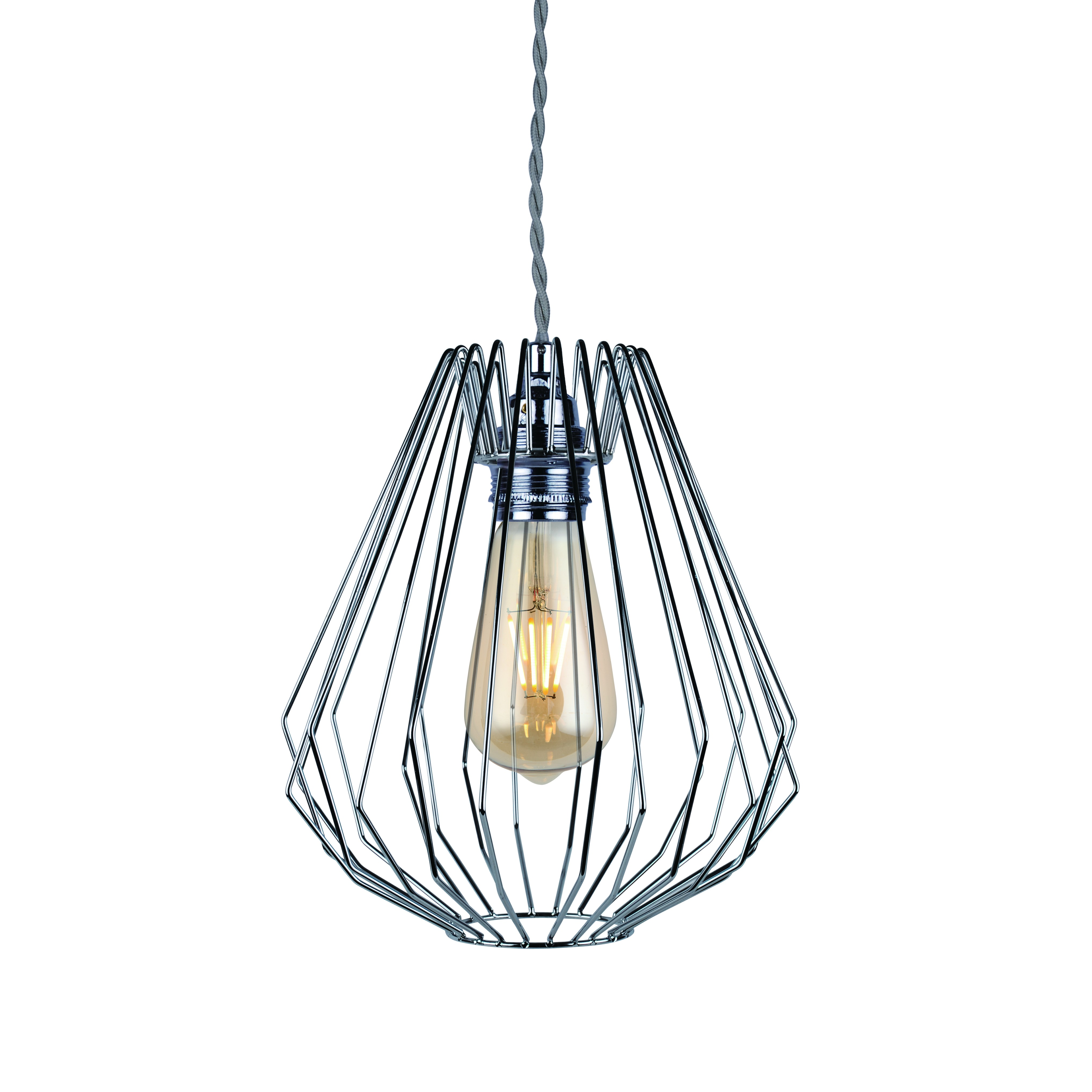Hanging Light Fittings Wholesale: Polished Chrome Wire Geometric Ceiling Light Fitting