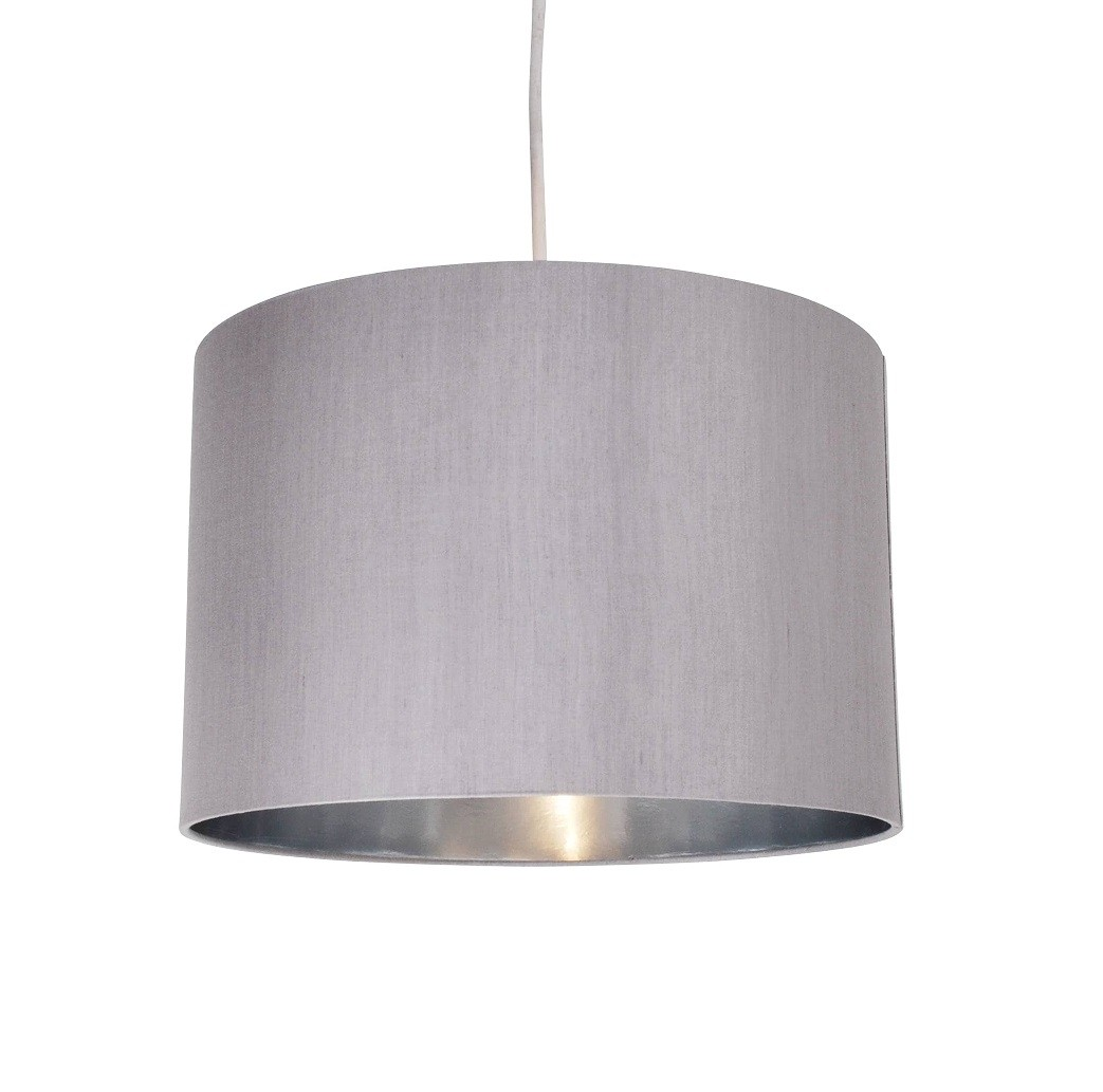 Grey fabric 30cm drum light shade with chrome inner grey faux silk 30cm drum light shade with chrome inner aloadofball Image collections