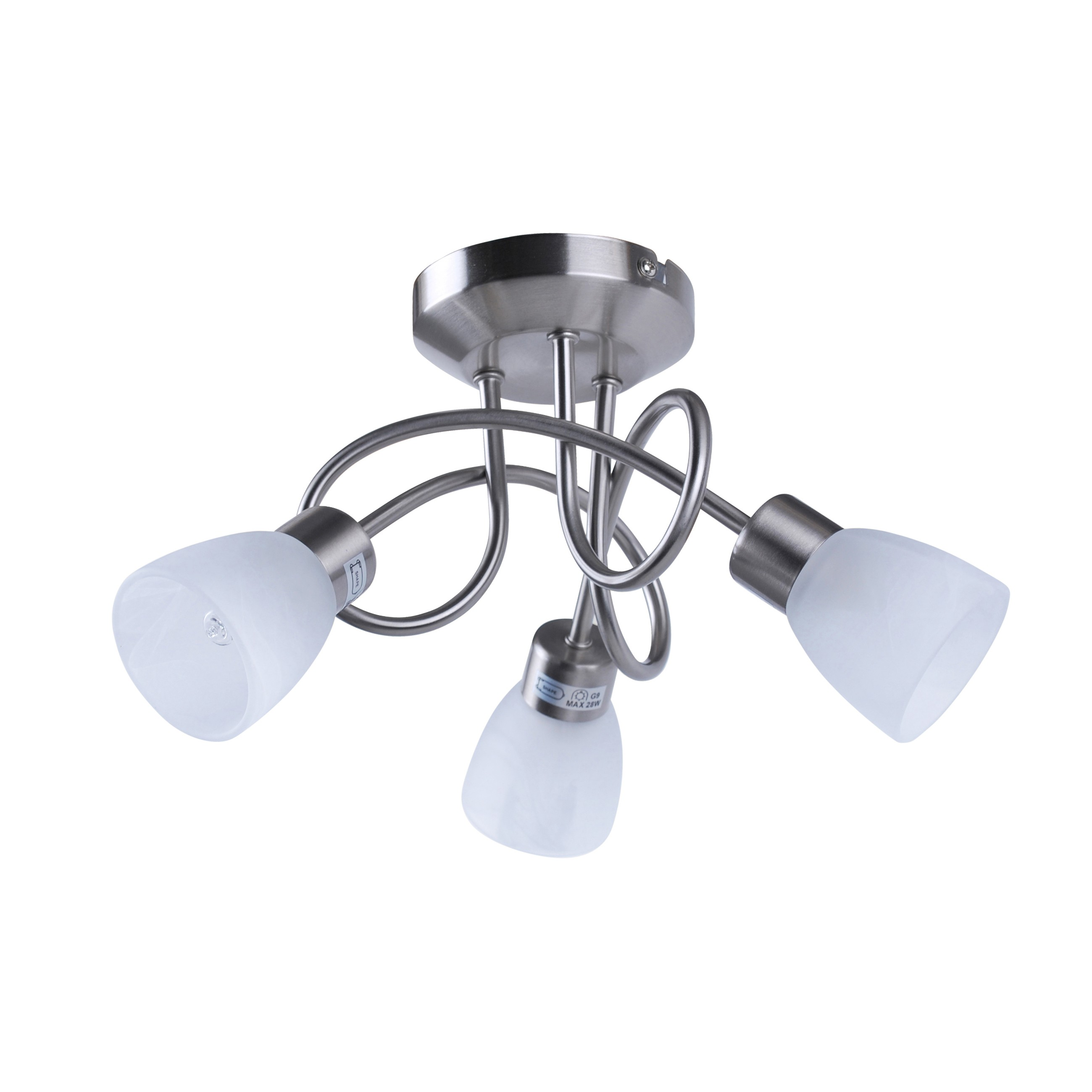 Brushed chrome and opal glass 3 way ceiling light brushed chrome and opal glass 3 light ceiling fitting aloadofball Image collections