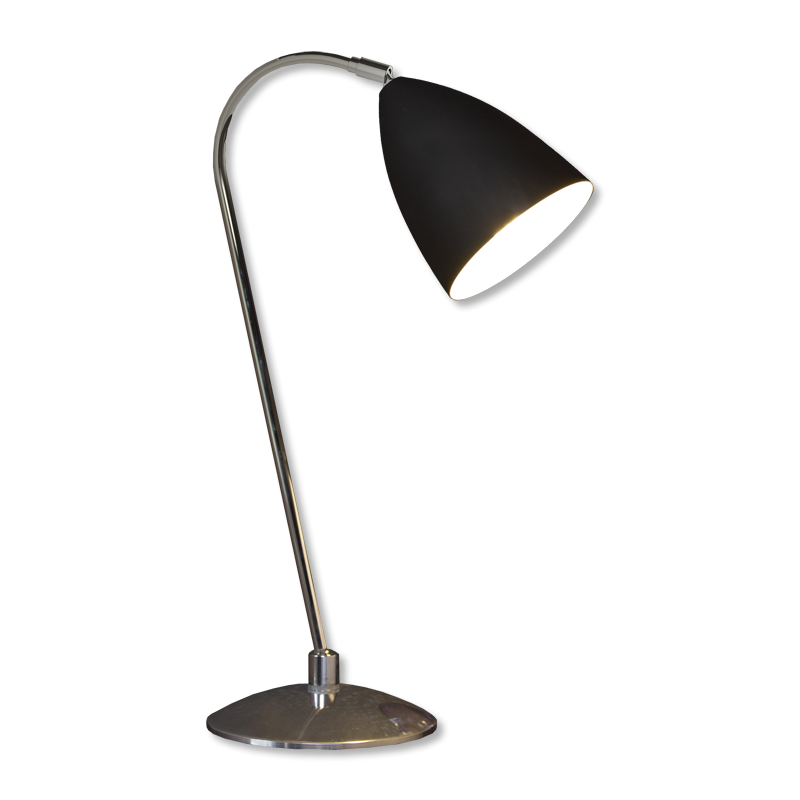 chrome with black shade 60w e27 double insulated desk light