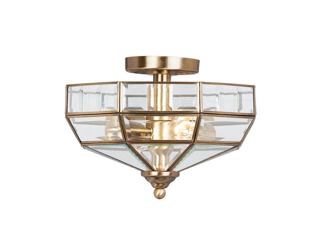 Semi Flush Ceiling Lights Glass Brass Fixture Bathroom: Antique Brass 60W E27 2 Light Semi-Flush