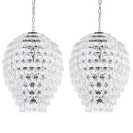 Pair of Chrome and Clear Jewel Pineapple Style Ceiling Light Pendants