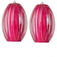 Pair of Pink Acrylic with Matching Diffuser Easy Fit Light Shades