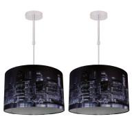 Set of 2 Digitally Printed Shade with New York City Skyline 320mm Diameter Adjustable Flush
