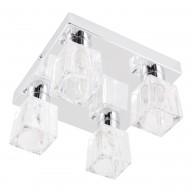 Chrome 4 Light Ice Cube Glass Flush Fitting