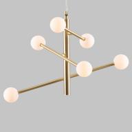 Contemporary 6 Light Satin Brass Retro Pendant with Opal Globe Shades