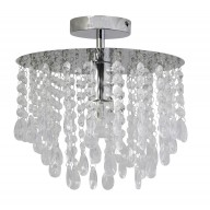 Polished Chrome & Acrylic Crystal Flush Ceiling Light Chandelier Fitting