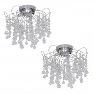 Pair of Chrome and Acrylic Crystal Semi Flush Ceiling Fittings