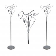 Pair of Polished Chrome Swirled Acrylic Drops Floor Lamps