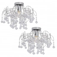 Pair of Chrome and Jewelled Droplets Semi Flush Fittings
