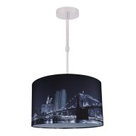 Digitally Printed Ceiling Adjustable Flush Shade with New York City Skyline 400mm Diameter
