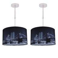 Set of 2 Digitally Printed Ceiling Adjustable Flush Shade with New York City Skyline 400mm Diameter