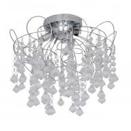 Chrome and Acrylic Crystal Semi Flush Ceiling Fitting