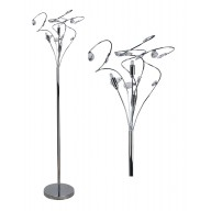 Polished Chrome Swirled Acrylic Drops Floor Lamp
