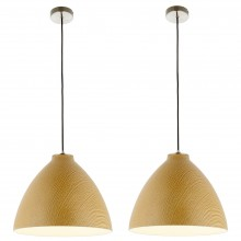 Pair of Modern Wood Effect Ceiling Light Dome Style Pendant Fittings