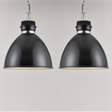 Pair of Gloss Black Industrial Style Ceiling Light Pendants