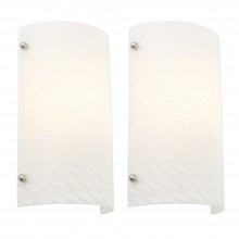 Pair of Opal Ribbed Glass 40W Wall Lights