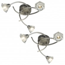 Set of 2 Satin Nickel with Glass Shades 3 Light Swirl Fittings