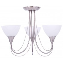 Brushed Chrome & Opal Glass 3 Light Semi Flush