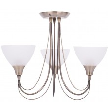 Antique Brass & Frosted Glass 3 Light Semi Flush