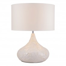 Vintage Leaf Ceramic Table Lamp with Ivory Fabric Shade