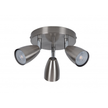 Brushed Chrome with Chrome Detail 3 Way Spotlight Plate