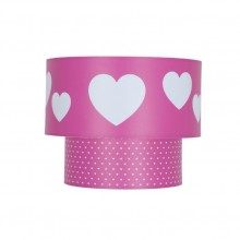 Kids Pink Heart Design 2 Tier Easy Fit Ceiling Shade