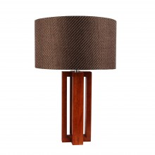 Cherrywood Table Lamp with Woven Taupe Fabric Shade