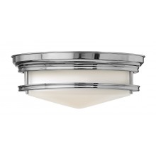 Chrome With White Glass 100W E27 Flush Light