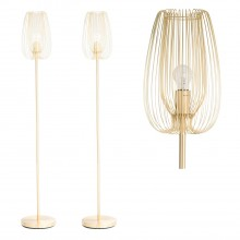 Set of 2 Brushed Gold Metal Wire Floor Lamps