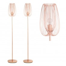 Set of 2 Copper Metal Wire Floor Lamps