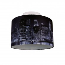 Digitally Printed Shade with New York City Skyline 320mm Diameter Flush