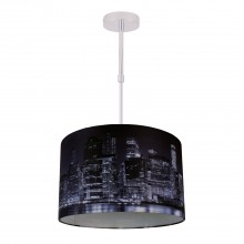 Digitally Printed Shade with New York City Skyline 320mm Diameter Adjustable Flush