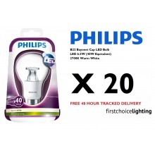 20 x Philips 6.5W (40W) B22 BC Bayonet Cap LED Lamps Bulbs 2700K Warm White
