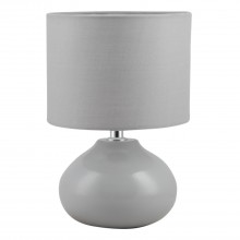 Owen - Grey Ceramic 24cm Table Lamp / Bedside Light with Matching Shade
