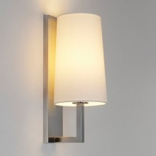 Astro Lighting - Riva 350 1214004 (7022) & 1214004 (4080) - IP44 Matt Nickel Wall Light With White Shade Included