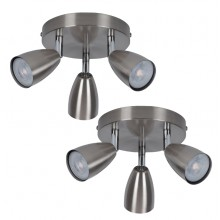 Pair of Brushed Chrome with Chrome Detail 3 Way Spotlight Plates