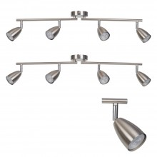 Pair of Brushed Chrome with Chrome Detail 4 Way Spotlight Bars