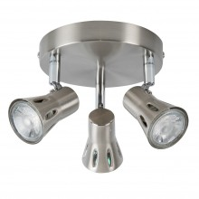 Brushed Chrome with Chrome Detail 3 Way Round Spotlight Plate