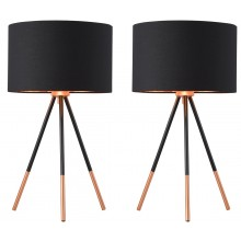 Pair of Trim - 51cm Black and Copper Tripod Table Lamps