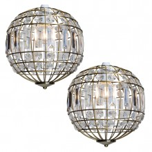 Pair of Antique Brass and Clear Crystal Globe Easy Fit Pendant Shades
