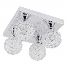 Chrome 4 Light Jewelled Glass Flush Fitting
