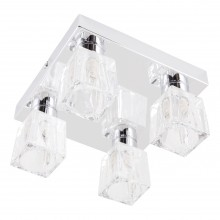 Chrome 4 Light Ice Cube Glass Flush Fitting