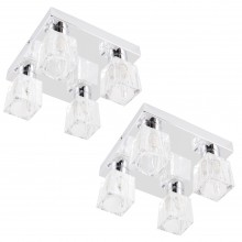 Pair of Chrome 4 Light Ice Cube Glass Flush Fittings