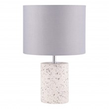 Cylinder White Terrazzo Table Lamp with Grey Fabric Shade
